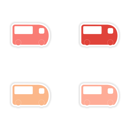 assembly realistic sticker design on paper bus transportation Vector