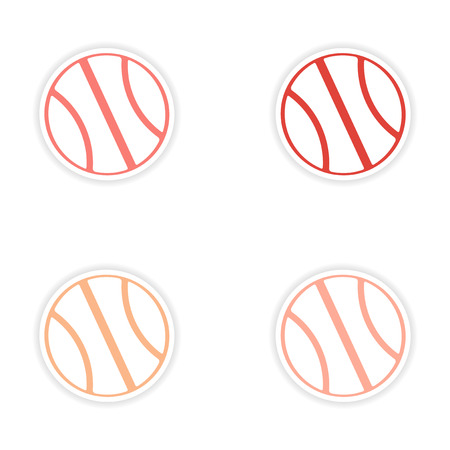 assembly realistic sticker design on paper basketball Vector