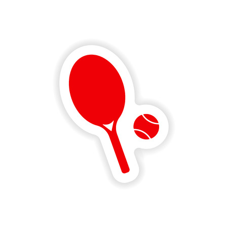 real tennis: icon sticker realistic design on paper tennis Illustration