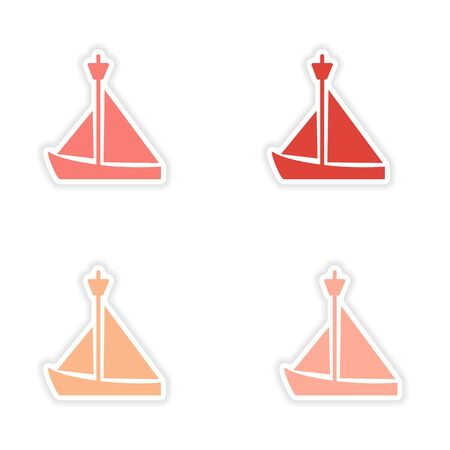 assembly realistic sticker design on paper sailing boat Vector