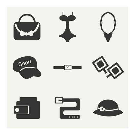 accessories in black and white Vector