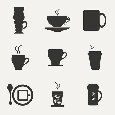 coffee cups in black and white Vector