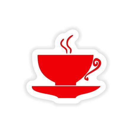 cofe: coffee cup icon sticker realistic design on paper Illustration