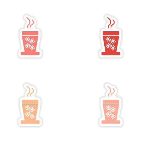 cofe: assembly realistic coffee cups sticker design on paper