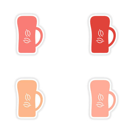 cofe: assembly realistic sticker design on paper cofee cups Illustration