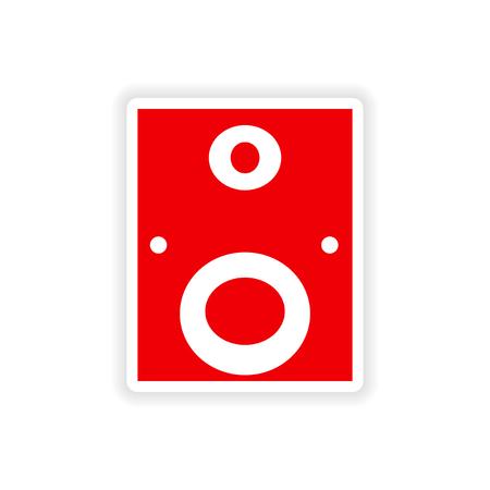 subwoofer: subwoofer icon sticker realistic design on paper Illustration