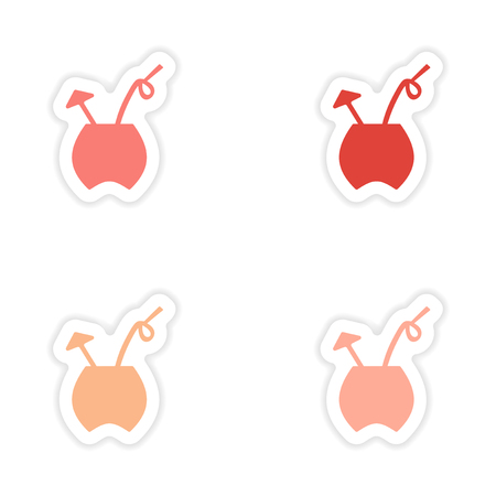 assembly: assembly realistic cocktails sticker design on paper Illustration