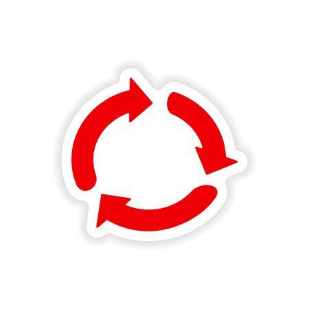 double click: arrows icon sticker realistic design on paper Illustration