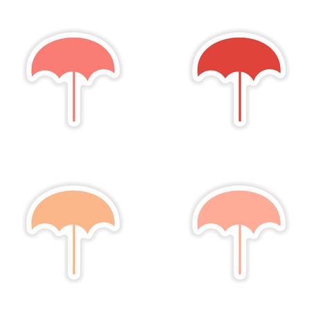 assembly realistic beach umbrella sticker design on paper Vector