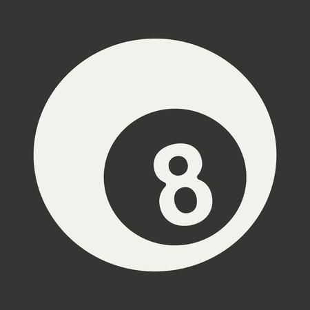 bola de billar: Piso en la piscina de bolas de aplicaciones m�viles en blanco y negro Vectores