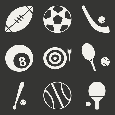 sports application: Flat in black and white concept mobile application sports icons Illustration