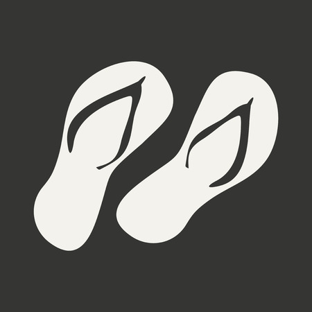 Flat in black and white mobile application flip flops Çizim