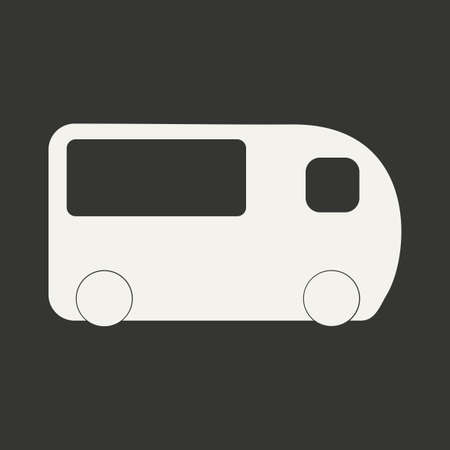 Flat in black and white mobile application minibus Vector