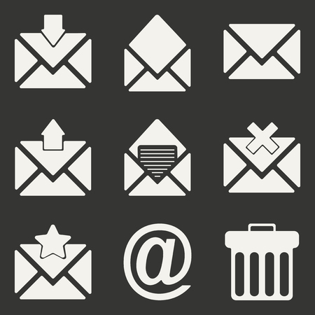 waste basket: Flat in black and white concept mobile application email icons