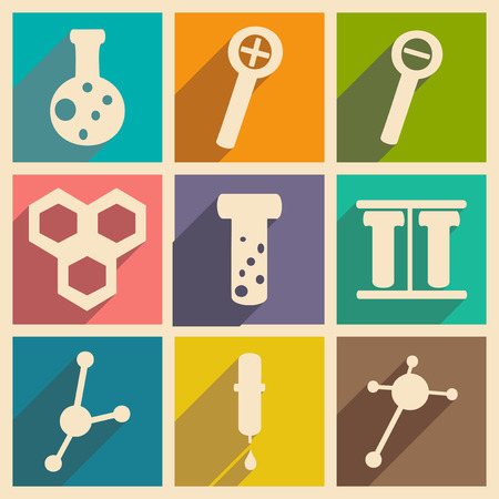 Flat with shadow concept and mobile application laboratory equipment Vector