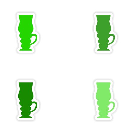 cofee: assembly realistic sticker design on paper cofee cups Illustration