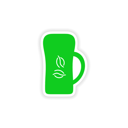 cofee cup: icon sticker realistic design on paper cofee cup