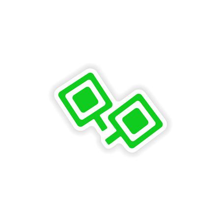 cufflinks: icon sticker realistic design on paper cufflinks