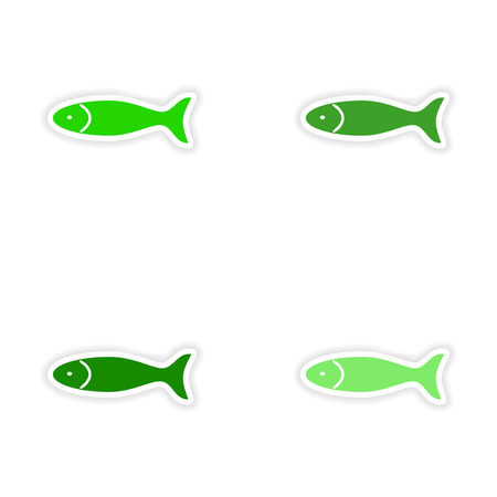 model fish: assembly realistic sticker design on paper fish
