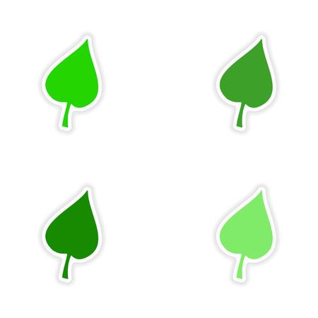 linden: assembly realistic sticker design on paper leaf linden