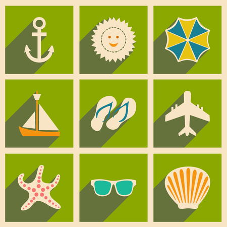 flying boat: Flat with shadow concept and mobile application travel icons