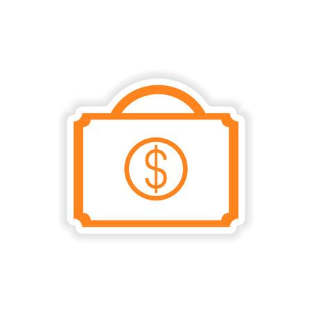 paper case: icon sticker realistic design on paper case money
