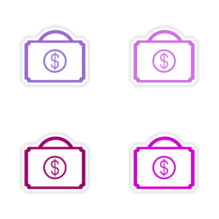 cases: assembly realistic sticker design on paper cases money Illustration