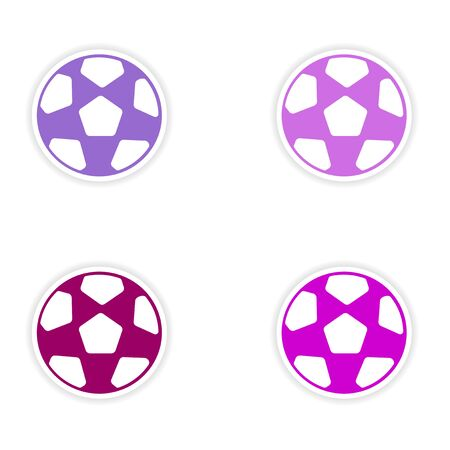 assembly realistic sticker design on paper football Vector