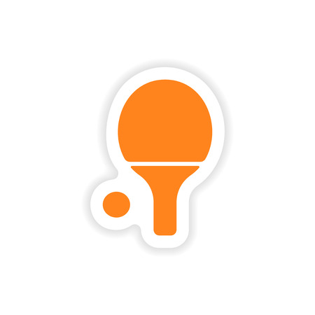 real tennis: icon sticker realistic design on paper table tennis