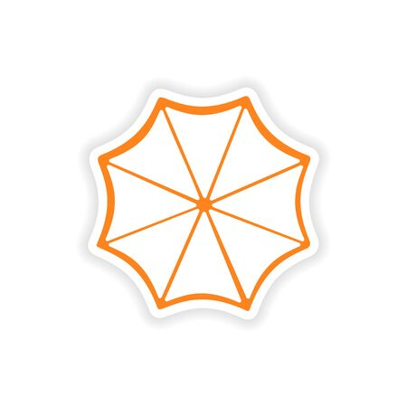 sonnenschirm: Symbol Aufkleber realistischen Design auf Papier Sonnenschirm Illustration