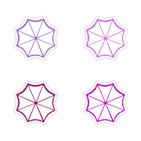assembly realistic sticker design on paper sun umbrella Vector