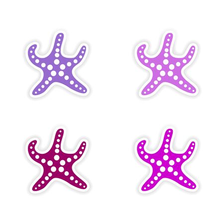assembly realistic sticker design on paper starfish Vector