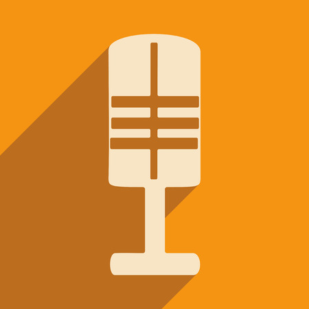 Flat with shadow icon and mobile applacation microphone Vector