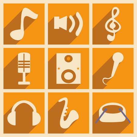Flat with shadow concept and mobile application music Vector