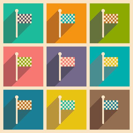 racing checkered flag crossed: Flat with shadow concept and mobile application finish Illustration