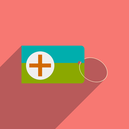 medical preparation: Flat with shadow icon and mobile applacation first aid box