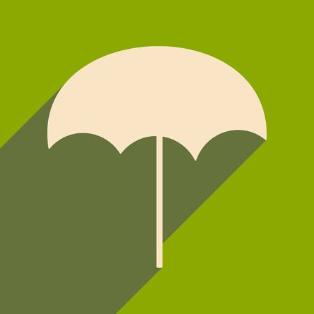 Flat with shadow icon and mobile applacation beach umbrella Vector