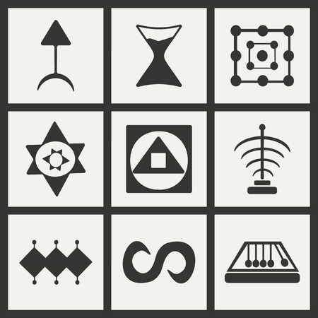 alchemical: Flat in black and white concept mobile application alchemical symbols Illustration