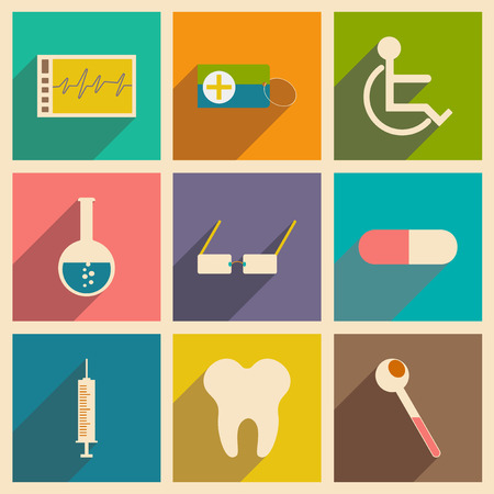 Flat with shadow concept and mobile application medicine icons Vector