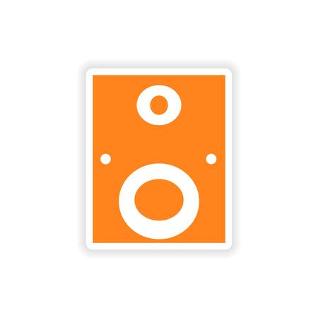 subwoofer: icon sticker design realistico su carta subwoofer Vettoriali