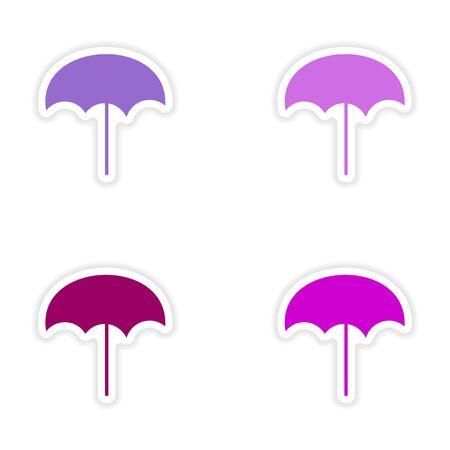 assembly realistic sticker design on paper beach umbrella Vector