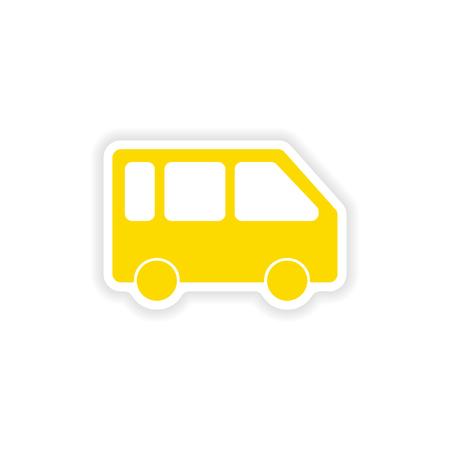 minivan: icon sticker realistic design on paper minivan