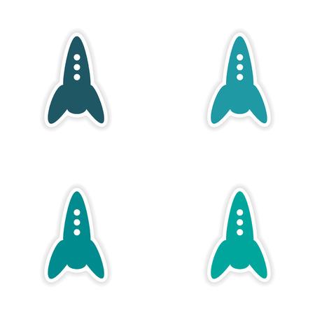 customization: assembly realistic sticker design on paper rockets