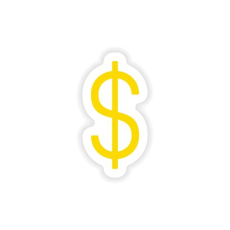 personal banking: icon sticker realistic design on paper dollar Illustration