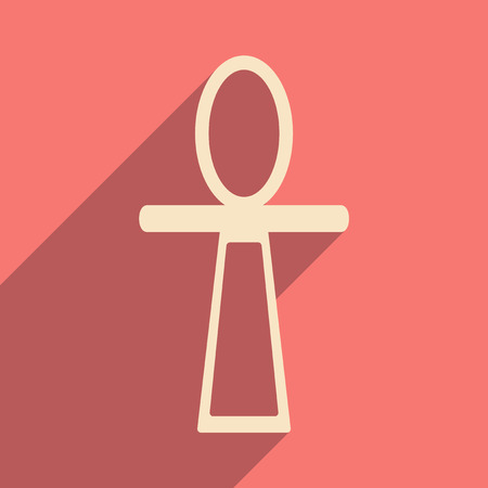 ankh: Flat with shadow icon and mobile application ancient Egypt ankh