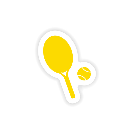 real tennis: icon sticker realistic design on paper tennis Illustration