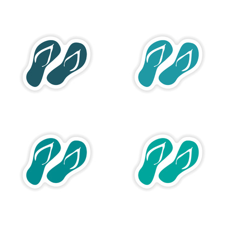 assembly realistic sticker design on paper slippers Vector