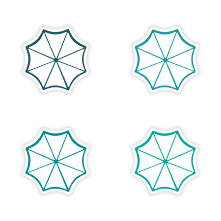 sun umbrella: assembly realistic sticker design on paper sun umbrella