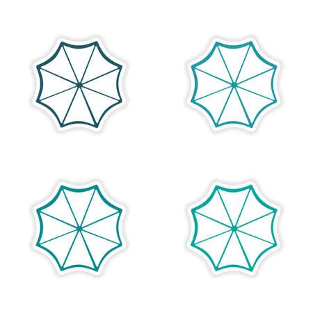 sonnenschirm: Montage realistisch Aufkleber Design auf Papier Sonnenschirm Illustration