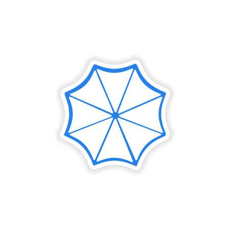 sun umbrella: icon sticker realistic design on paper sun umbrella Illustration